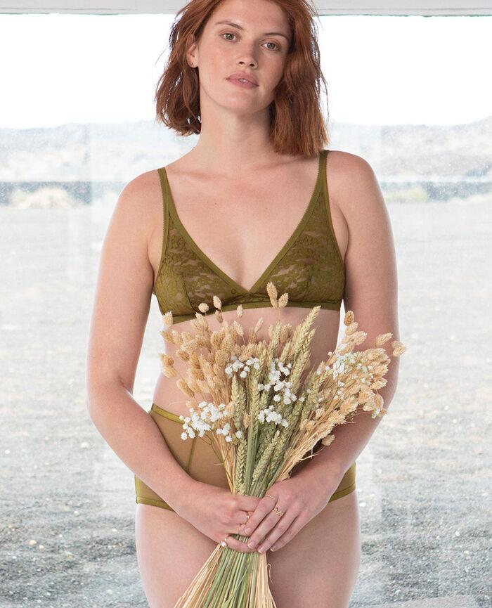 Soutien-gorge sans armatures Vert bowie Fleurs