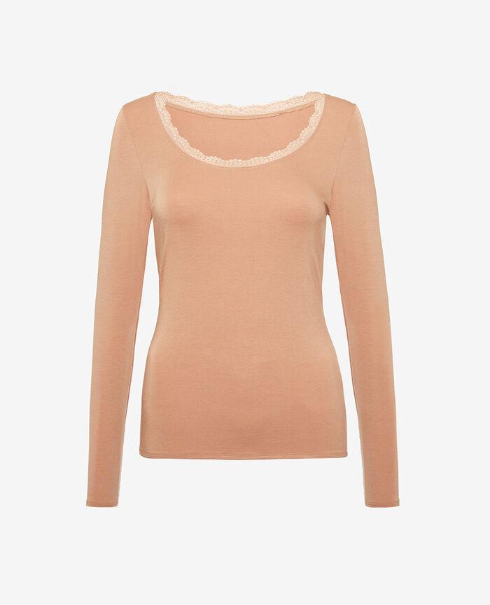 T-shirt manches longues Beige camel Heattech® extra warm