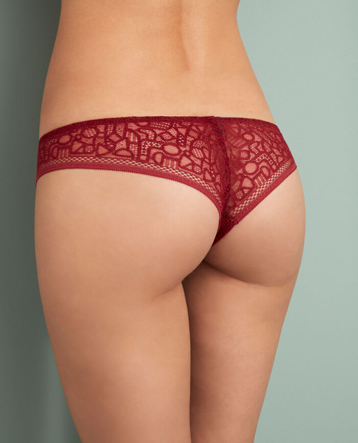 Tanga Rouge cuir Manhattan