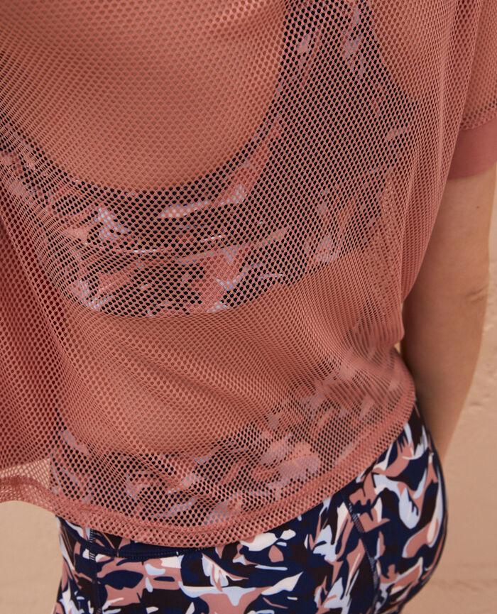 T-shirt manches courtes de sport Beige dune Yoga resille
