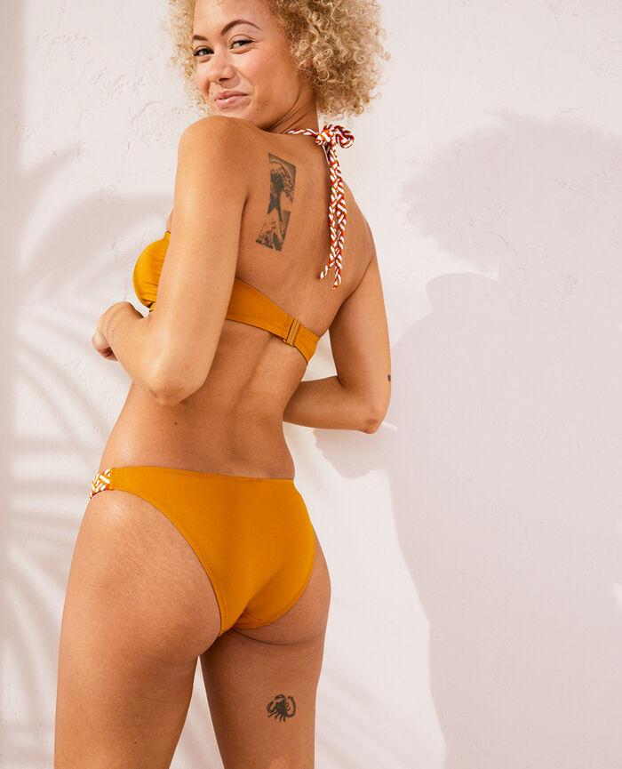 Culotte de bain bikini Jaune cumin Natte