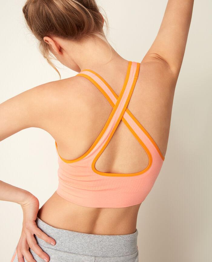 Brassière de sport maintien léger Pamplemousse rose Yoga