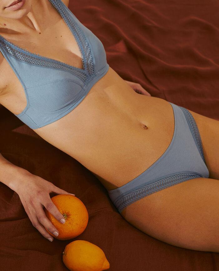 Culotte taille basse Bleu cendre Coton