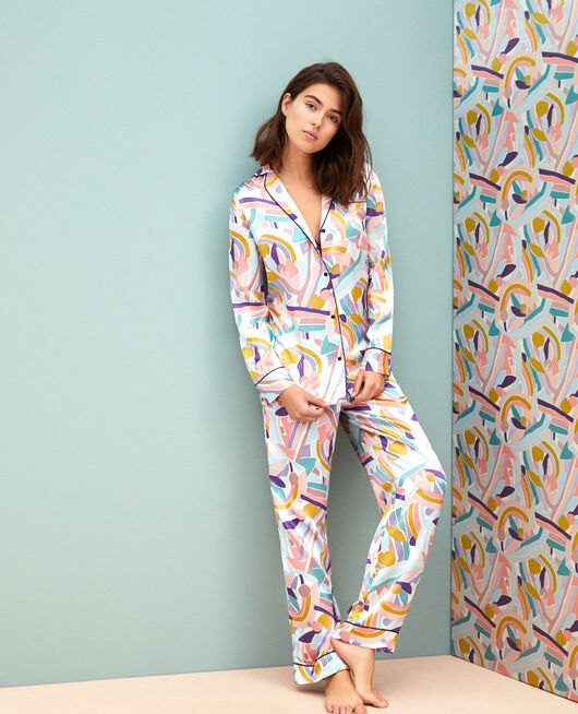 Pyjama jacket Color block Palazzo