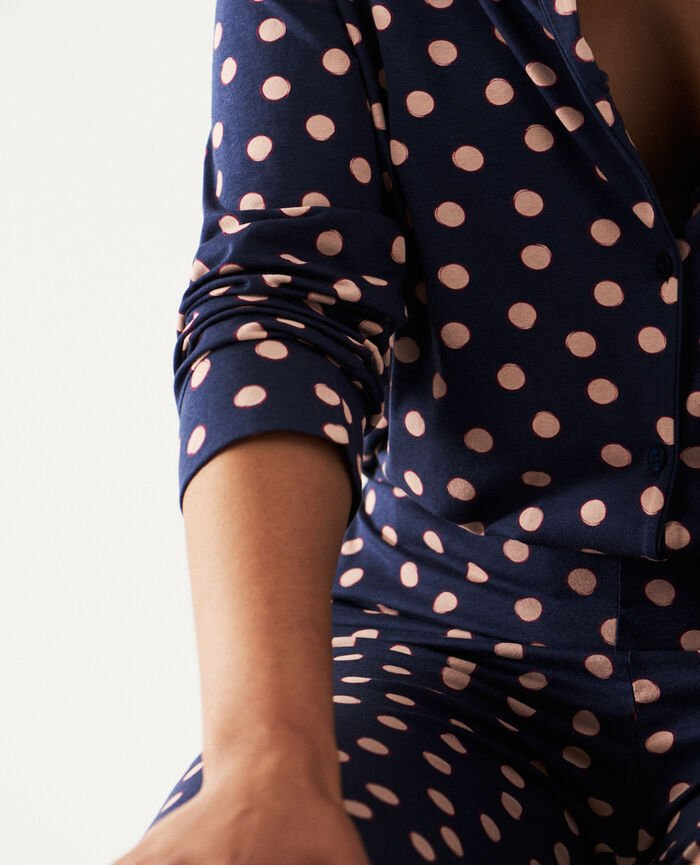 Veste de pyjama Peas beige poudre Paresse print