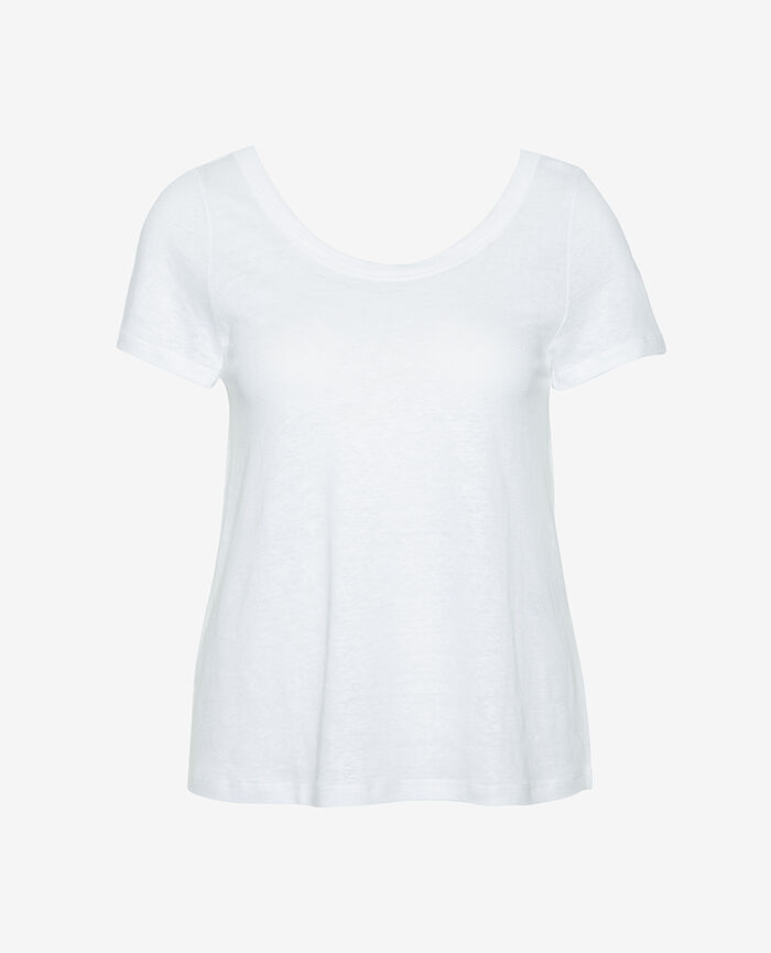 Short-sleeved t-shirt White Casual lin