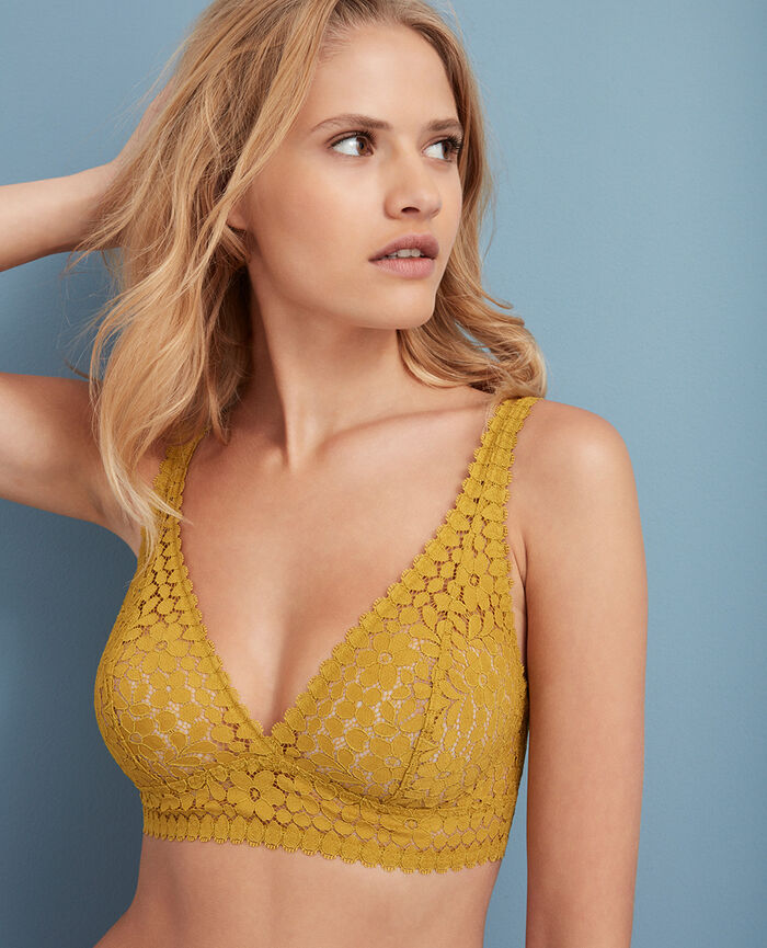 Soutien-gorge triangle dos nu multiposition Jaune pickles Monica