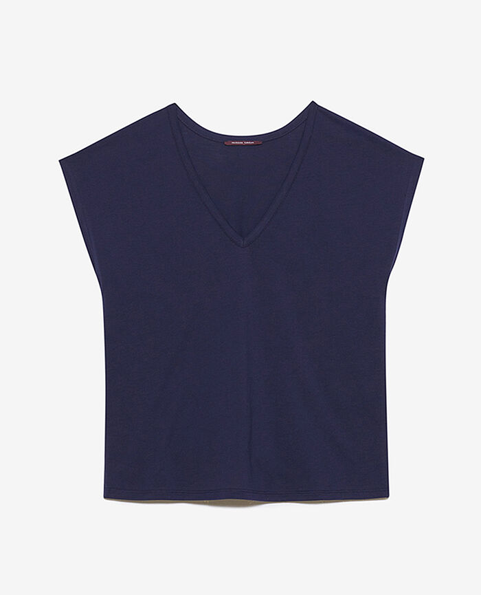 Short-sleeved top with v-neck Navy Top collection