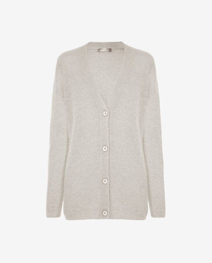 Long-sleeved cardigan Light grey Delicate