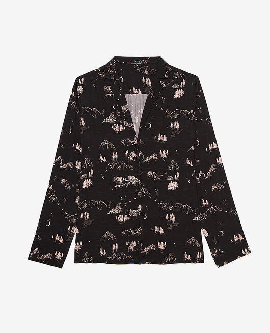 Veste de pyjama Montagne noir Attitude imprime