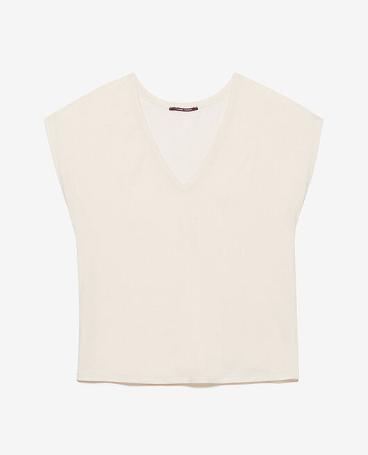 T-shirt court manches courtes col v Blanc rosé Top collection