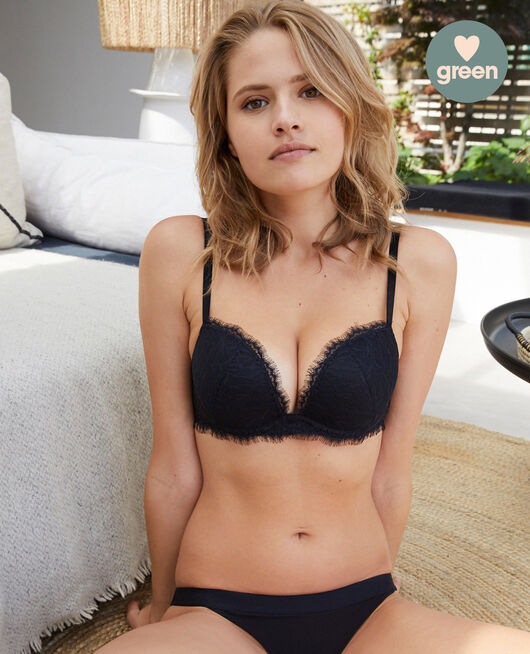 Plunge push-up bra Black Nuit
