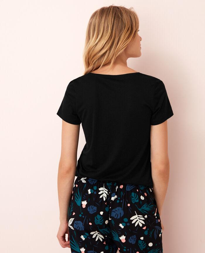 Short-sleeved top with v-neck Black Latte