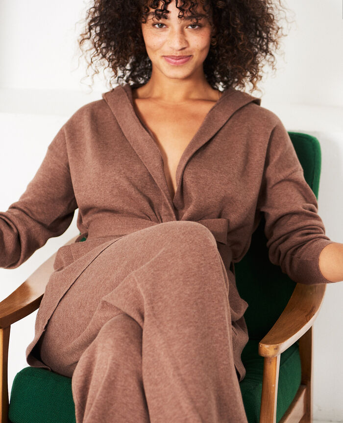 Long-sleeved cardigan Nutmeg brown Naturel