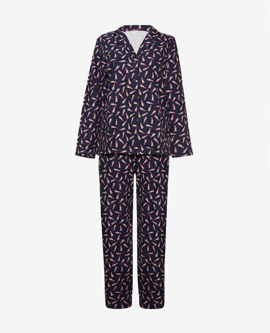 Pyjama set Lipstick blue Flanelle