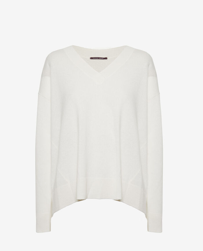 V-neck jumper Ivory Icone