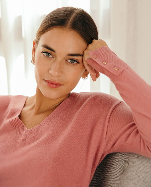 V-neck jumper Tango pink Icone