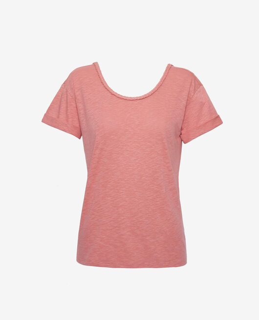 Short-sleeved open back t-shirt with boatneck Dune pink Argan