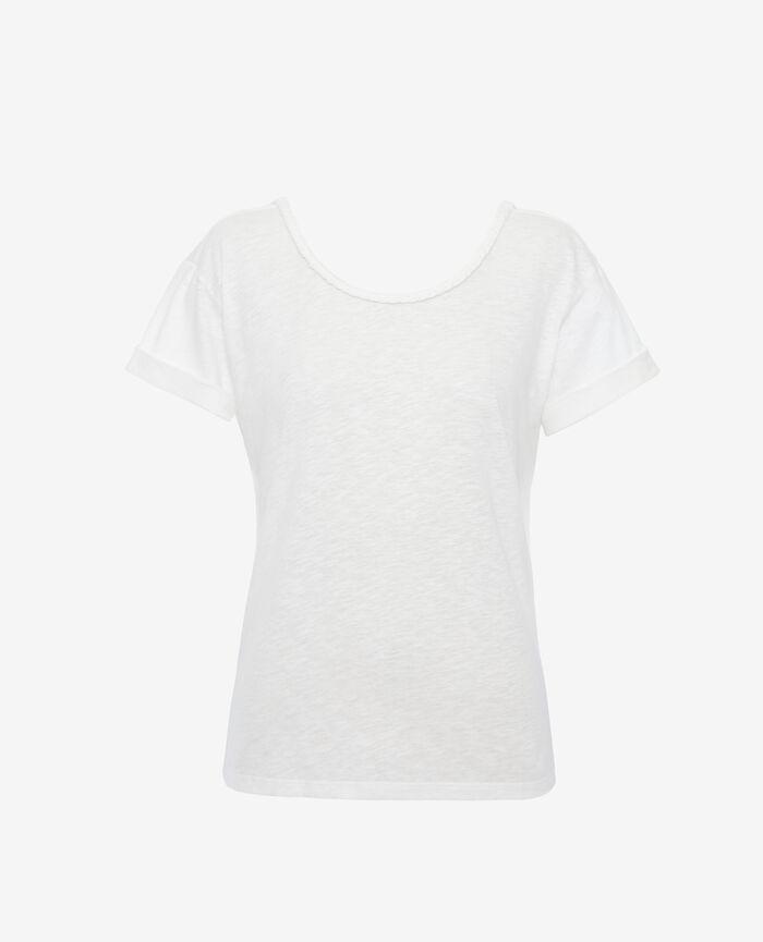T-shirt manches courtes dos ouvert col bateau Ivoire Argan