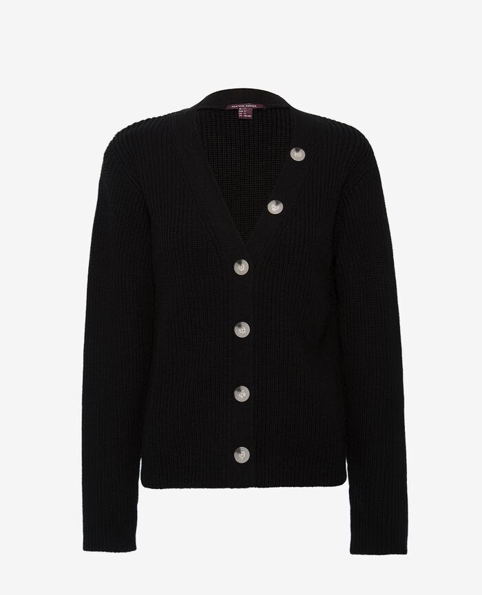 Long sleeves cardigan Black Pigment