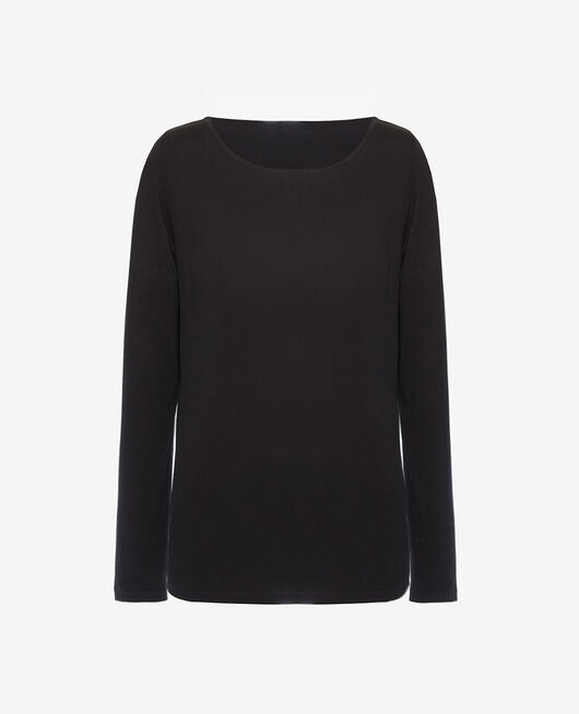 T-shirt long sleeves open neck Black Dimanche