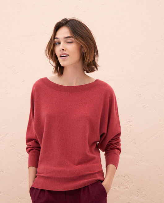 Pull col bateau Rouge pivoine Icone