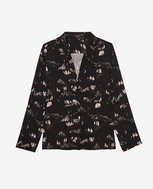 Pyjama jacket Black mountain Attitude imprime