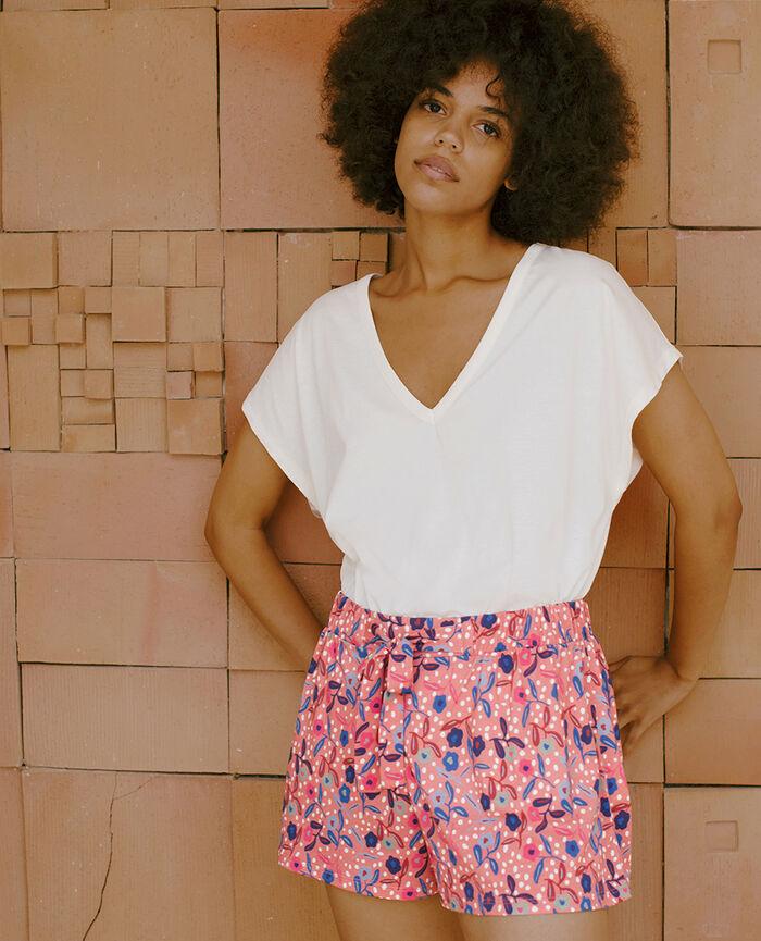 T-shirt court manches courtes col v Blanc rosé Top collection