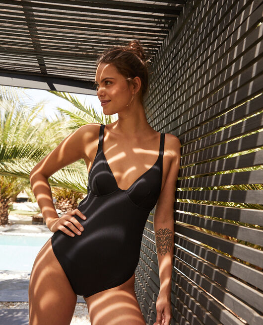 Mini-wire one-piece swimsuit Black Impala