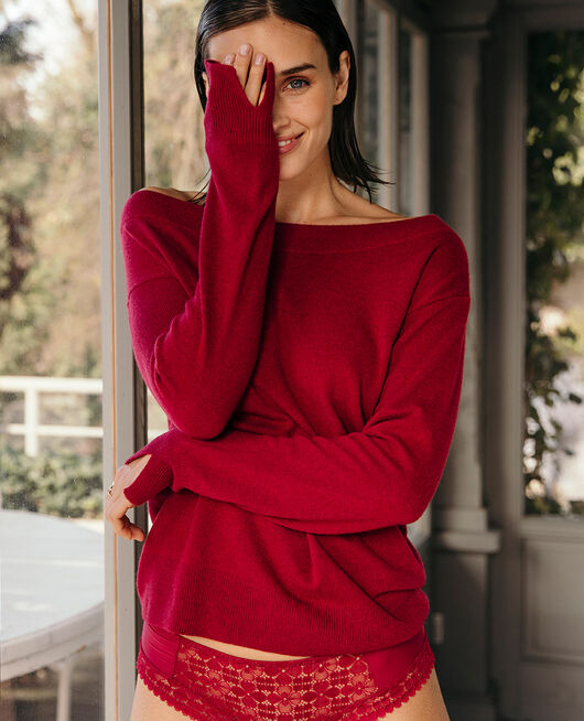 Boatneck jumper Camelia red Icone