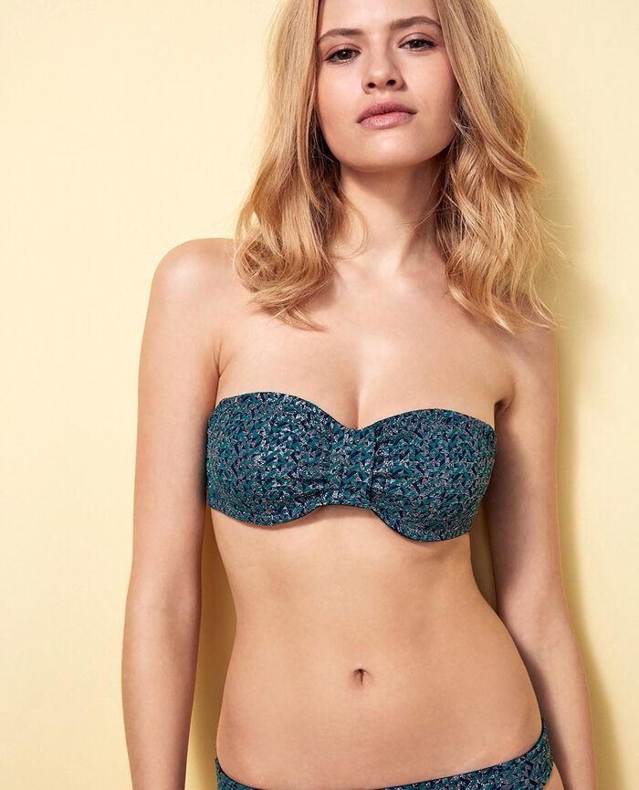 3703ff7e3ed34 Concealed underwired strapless bikini top Pigment green - Stellar ...