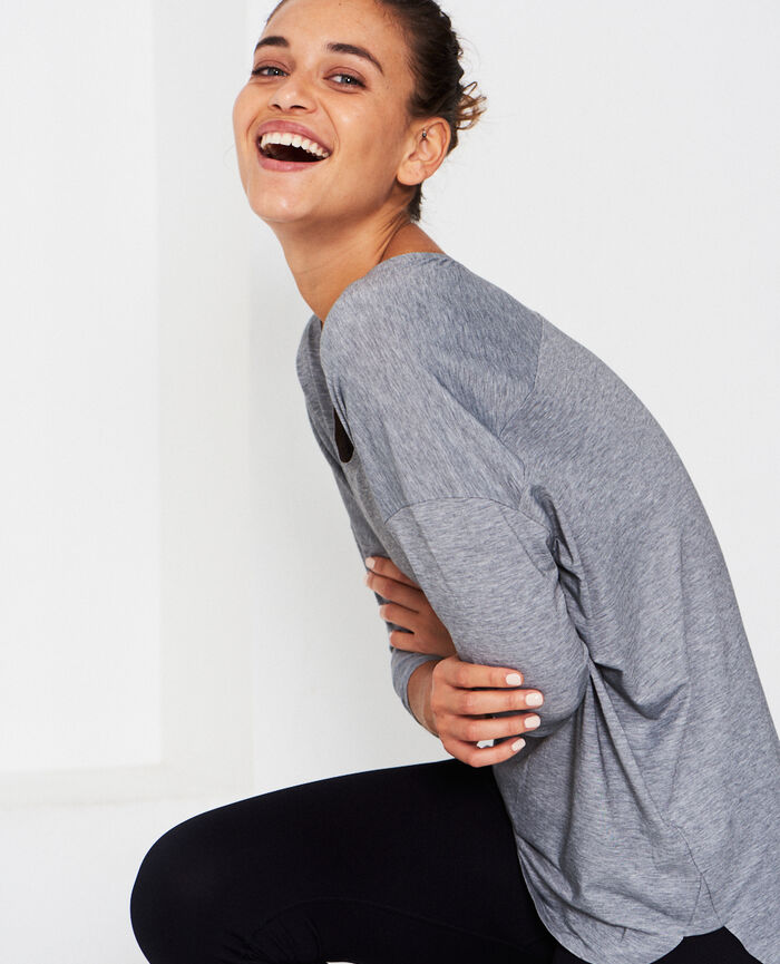 Short-sleeved sports top Flecked grey Airism