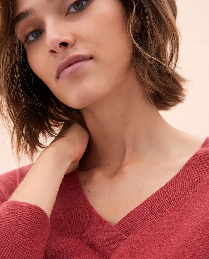 V-neck jumper Peony red Icone