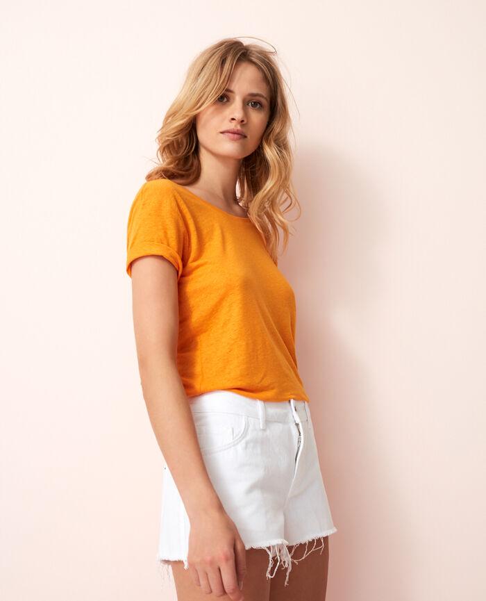 Short-sleeved open back t-shirt with v-neck Maya orange Elisa