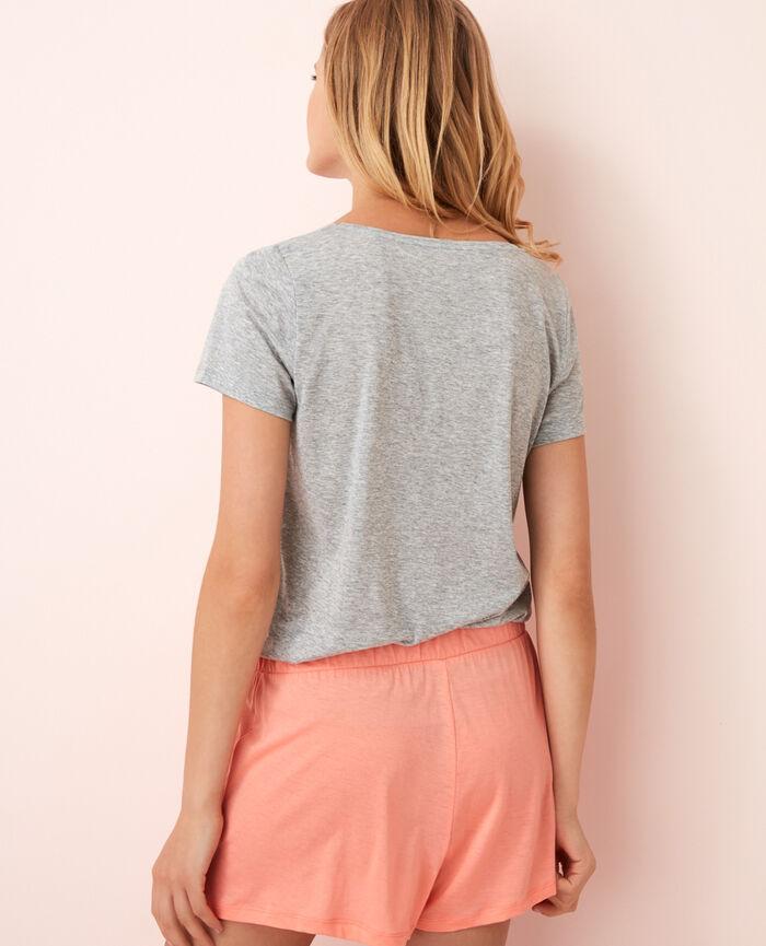 T-shirt court manches courtes col v Gris chiné Latte
