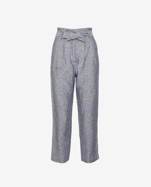 Pantalon Bleu marine Chic lin