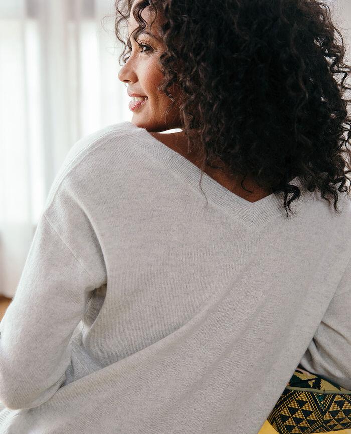 V-neck jumper Flecked grey Icone