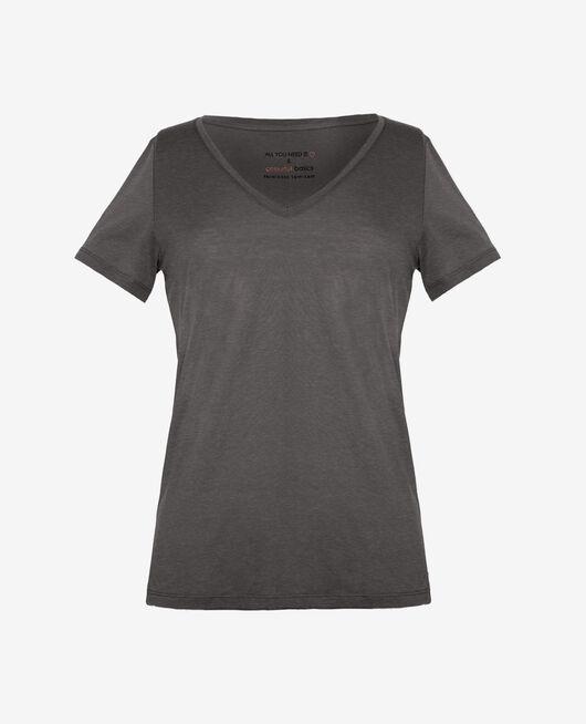T-shirt court manches courtes col v Gris chiné foncé Latte