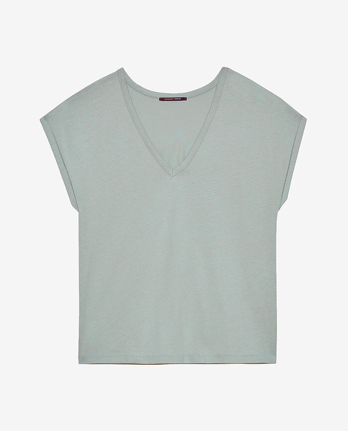 T-shirt court manches courtes col v Vert amande Top collection