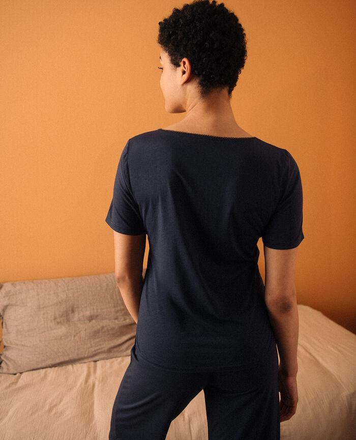 Short-sleeved top with v-neck Navy Bonne nuit