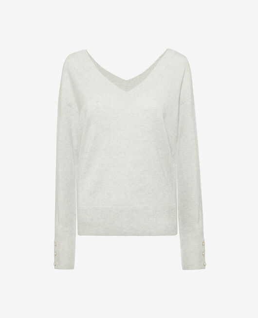 V-neck jumper Flecked grey Icone