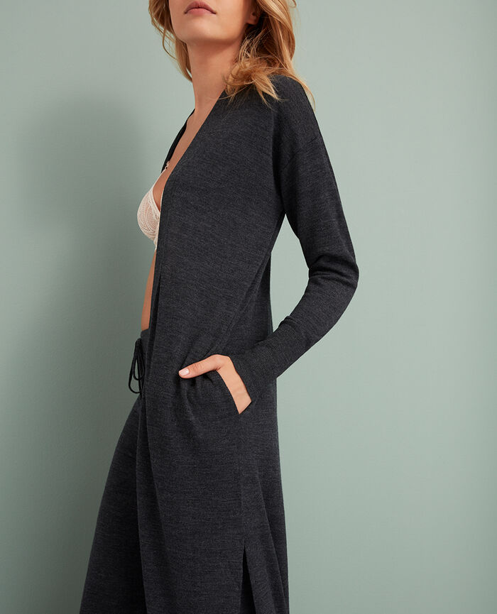 Cardigan manches longues Gris anthracite Extra