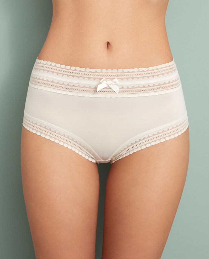 High-waisted briefs Rose white Beaute