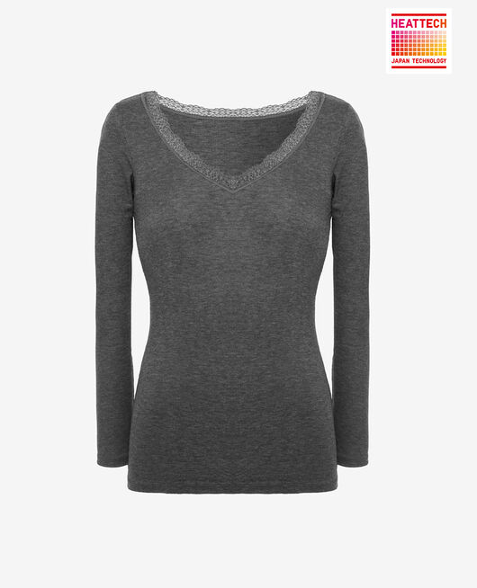 Long sleeved top Anthracite grey Lovely