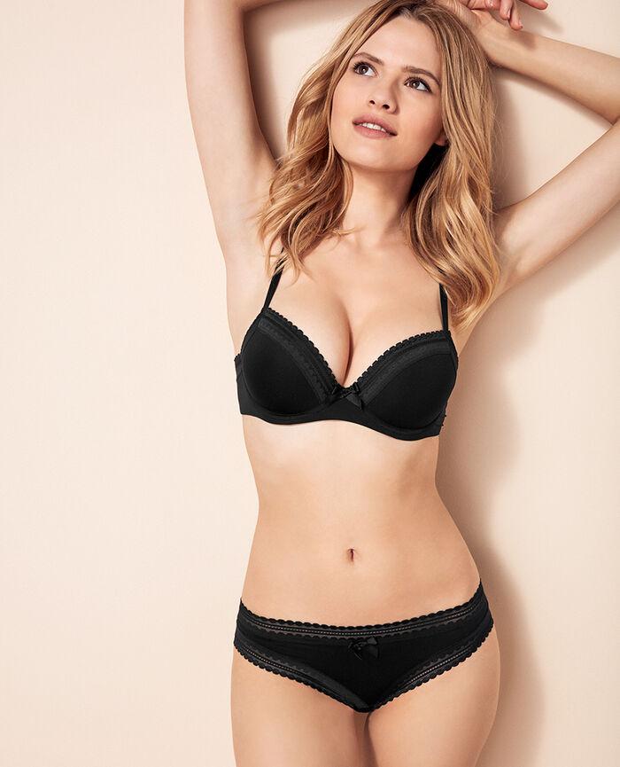 Progressive-cup push-up bra Black Beaute