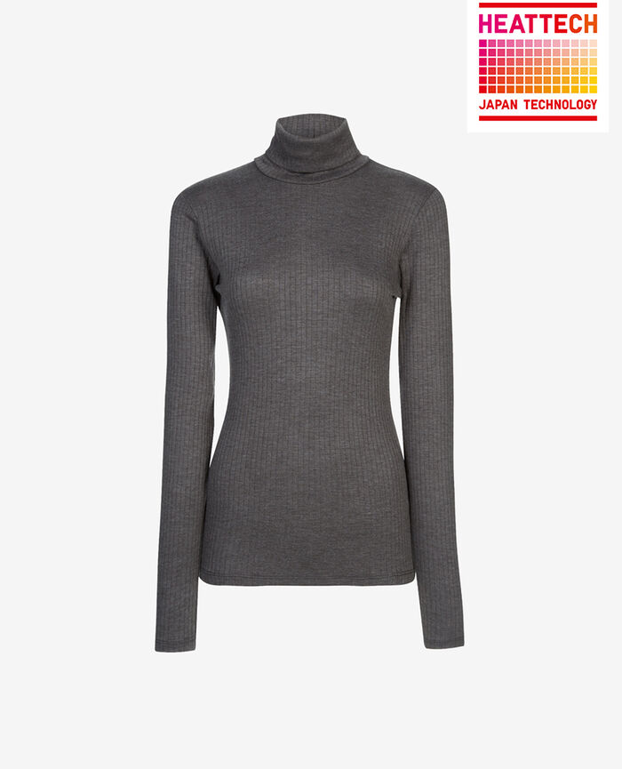 Top with turtle neck Flecked grey Infinity