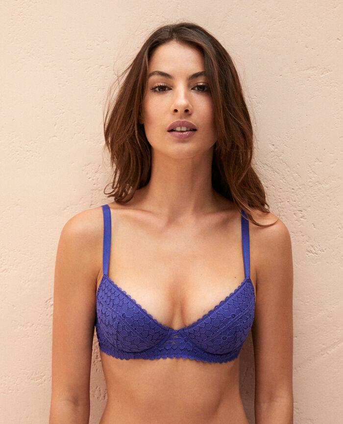c0e69484316159 Padded push-up bra Gouache blue - Monica   Princesse tam.tam