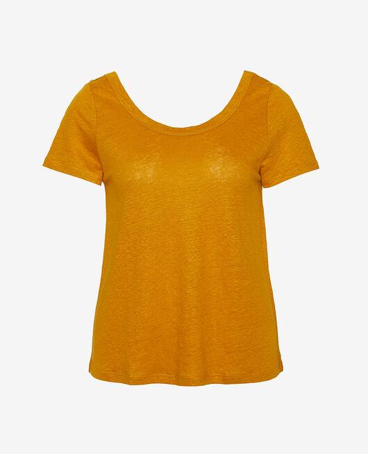 T-shirt manches courtes Jaune cumin Casual lin