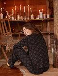 Veste de pyjama Leaves noir Dimanche