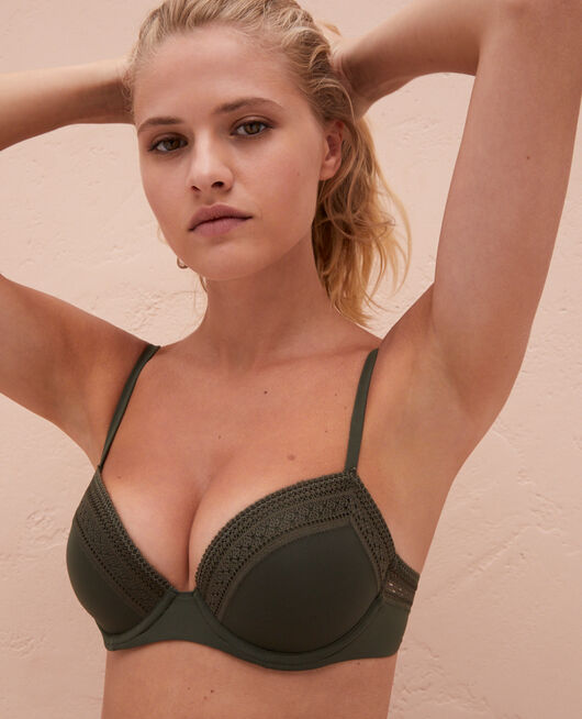 Progressive-cup push-up bra Moss green Eclat